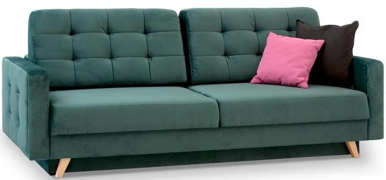 sofa do spania codziennego aura pikowana zielona m3kraj