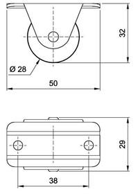 Kółka Rolka sztywna duża fi 28mm - Amix