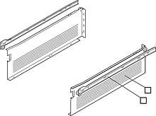 Szuflada METABOX 320H firmy Blum. Bok H=150mm, Dł.50cm, 25kg, Wysuw Częściowy, Szara Komplet Metabox 320H zawiera prowadnice korpusu prawą i lewą oraz...