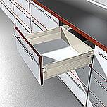 Szuflada METABOX 330H firmy Blum. Bok H=150mm, Dł.45cm, 30kg, Wysuw Pełny, Kremowa Komplet Metabox 330H zawiera prowadnice korpusu prawą i lewą oraz...