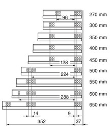 Prowadnica TANDEM BLUMOTION 550H dł.50cm Częściowy Wysuw Blum - Blum