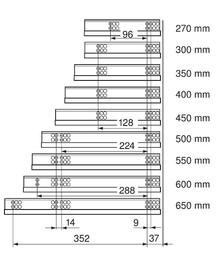 Prowadnica TANDEM 550H dł.45cm OTWIERANIE DOTYKOWE 75%Wysuw 30kg - Blum