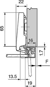 Zawias CLIP Top 95° Drzwi Ramka ALU Wąska Nakładane Spręż. Wkręt - Blum
