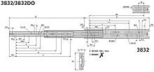 Prowadnice do szuflad Prowadnica kulkowa 3832DO 55cm 45kg 100%wysuw Accuride - Accuride