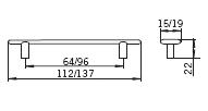 Uchwyty Uchwyt Big Bang 1053 Cyna (nóż) Rozstaw 64mm - Siro