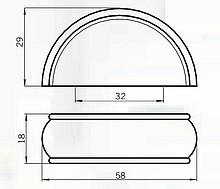 Uchwyt 8077F Pokrycie-Chrom,Czarna Eko-skóra Rozstaw 32mm(W) - Siro