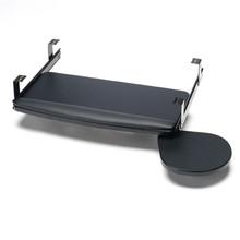 Podstawowa półka klawiaturowa EGTRAY-201 bez piórnika. Wykonana z tworzywa w kolorze czarnym. Przeznaczona do montażu pod blatem. Udźwig do 25kg Wysuw...