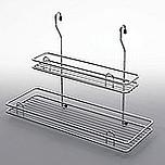 Koszyk Zawieszkowy Podwójny Duży Metal Chrom Systemy relingowe świetnie wypełniają pustą przestrzeń między szafkami dolnymi a górnymi półkami...