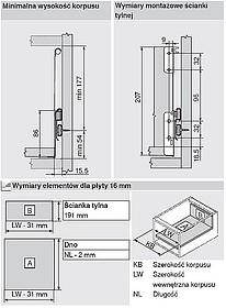 BOXSIDE Z36H Do Metabox Dł.500mm H=128mm Szary - Blum