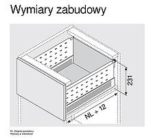 BOXSIDE Z36H Do Metabox Dł.550mm H=128mm Szary - Blum