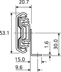 Prowadnica kulkowa 5517-60 70cm 60kg ponad100% Z Kątownikami Acc - Accuride