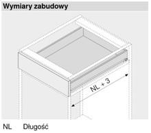 Prowadnica rolkowa 430E 80cm 30kg 100%wysuw Kremowo-Biała Blum - Blum