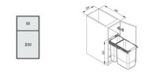 Pojemnik Na Odpady JC603 30 podwójny bez mocowania frontu - Rejs