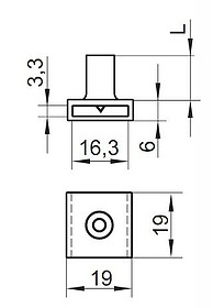Zamek centralny Przedni L-500 Niklowany Rozetka 19mm - Siso