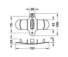 Prowadzenie Kabli Poziome 75/151mm Czarne - Häfele