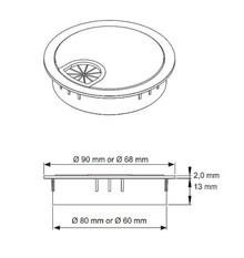Przepust kablowy Przepust Plastikowy fi 60 z Gumką Chrom - Siso