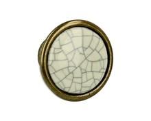 Gałka 1700 Romana,Stary Mosiądz,Jasnobeżowa Popękana Porcelana - Siro