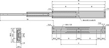Prowadnica kulkowa DA4160 Antykorozyjna dł.90cm 100% Do 300kg - Accuride