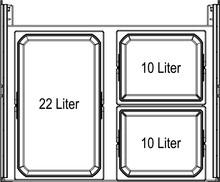 Kosz EKO Liner 2x10l+22l  Szary Z Wytłumiaczem Do Korpusu 60cm - Würth