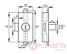 Zamek Baskwilowy Patentowy X-922 Niklowany Cylinder 19mm - Siso