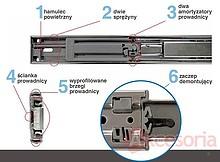 Prowadnica kulkowa z pełnym wysuwem i dociągiem, wysokość 50mm. Precyzyjna praca prowadnicy dzięki dokładnemu prowadzeniu. Możliwość...