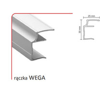Rączka WEGA 16/P (Profil) do drzwi przesuwnych wykonanych z płyty o grubości 16 mm.  Linia Premium 75.  Profil ten umożliwia montaż lustra/...