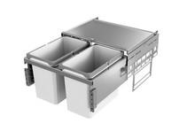 Kosze do sortowania odpadów EKO Liner Pojemność 1x16L + 1x22L Do korpusu o szerokości 50cm  Do korpusu o głębokości wewnętrznej 464 mm Wysokość...
