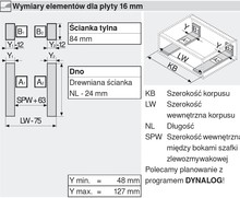 Szuflada Tandembox Wys.M=83mm ZLEWOZMYWAKOWA Dł.55cm 30kg SZARA - Blum