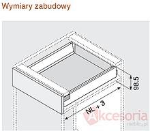 Szuflada ANTARO Wys.M=83mm dł.55cm 30kg BIAŁA Hamulec - Blum