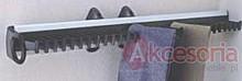 Wieszak wysuwny na krawaty J0101.  Wysuw prawo i lewostronny.  Kolor pokrycia - aluminium. Wymiary - 450 x 78 x 81 mm  Pozwala optymalnie wykorzystać...