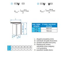 Prowadnice do drzwi Zestaw HERKULES PLUS HP25 Do 2 Drzwi Składanych dł.120 cm 25kg - Valcomp