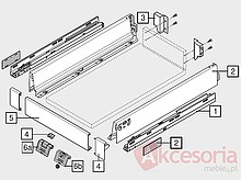 Zestaw elementów do wykonania szuflady WEWNĘTRZNEJ Tandembox Intivo z hamulcem BLUMOTION. Do samodzielnego montażu. Bok M=83mm Długość prowadnic 400mm...