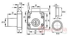 Zamek Zatrzaskowy X-856 19x22mm Kwadrat - Siso