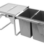 Kosz na śmieci podwójny JC606 M-2 do szafki 45 z mocowaniem frontu z prowadnicami kulkowymi pełnego wysuwu z dociągiem.  Idealne zastosowanie do kuchni...