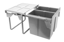 Kosz na śmieci podwójny JC609 M-2 do szafki 60 z mocowaniem frontu z prowadnicami kulkowymi pełnego wysuwu z dociągiem.  Idealne zastosowanie do kuchni...