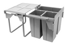 Kosz na śmieci potrójny JC609 M-3 do szafki 60 z mocowaniem frontu z prowadnicami kulkowymi pełnego wysuwu z dociągiem.  Idealne zastosowanie do kuchni...