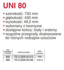 Wkład UNI 80 (730/430) SREBRNY Do Szuflad szer.80cm/głęb.45cm. - Rejs