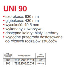 Organizery kuchenne Wkład UNI 90 (830/430) SREBRNY Do Szuflad szer.90cm/głęb.45cm. - Rejs