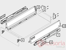Tandembox ANTARO Wys.M=83mm Głęb.50cm Szer.80cm SZARA Hamulec - Blum