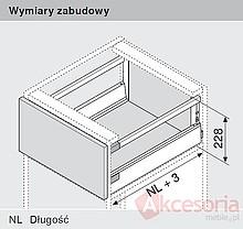 Tandembox ANTARO Wys.D=M+1Reling Dł.45cm/Szer.90cm SZARA Hamulec - Blum