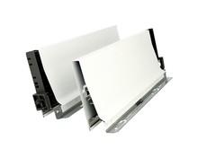 BOKI 358K Jedwabiściebiałez zaślepkami do szuflady TANDEMBOX ANTARO Wysokość boku: K=115 mm Do długości prowadnicy: 270 mm Regulacja...
