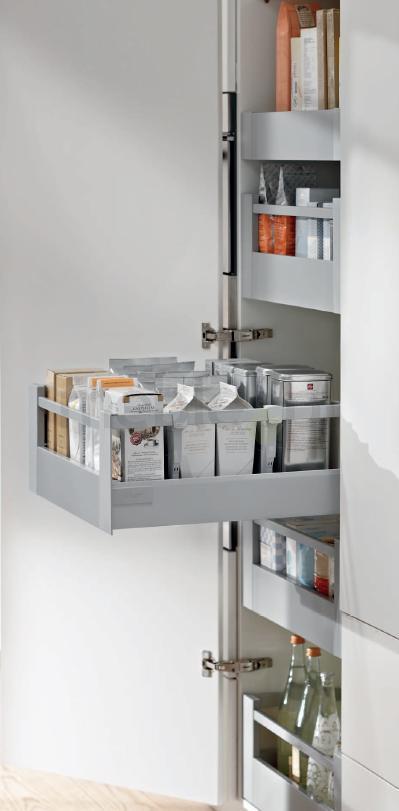 cargo space tower korpus 40cm szare kpl 5 szuflad antaro zawiasy blum akcesoria. Black Bedroom Furniture Sets. Home Design Ideas