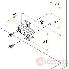 Prowadnik krzyżakowy zawiasu FGV H=2 bez euro metal nikiel - FGV