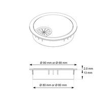 Przepust kablowy Przepust Kablowy Stal Szczotkowana  fi60 x 13 Ze Szczotką - Siso