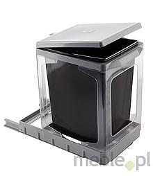 Sortownik na śmieciPAP609/1 Wykonany z tworzywa. Stelaż bez ścianek. Montowany do dna szafki. Pokrywa podnoszona automatycznie. Pojemność 17l.
