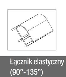 Łącznik 90-135° Elastyczny do Cokołu wys.10cm STAL Szczotk. Reha - Rehau