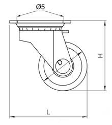 Kółko Obrotowe SZARE KDS-202 Łożyskowane fi.30mm - Amix