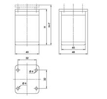 Nóżka Kwadratowa D-861 Z Regulacją wys.6cm ALUMINIUM - Amix