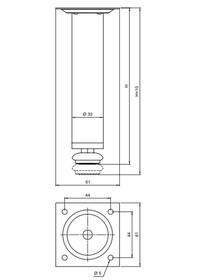 Nóżka Okrągła D-737 z regulacją, wys.10cm SATYNA (Mat Nikiel) - Amix