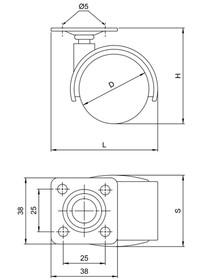 Kółko meblowe KDS-40 z płytką mocującą Czarne bez hamulca - Amix
